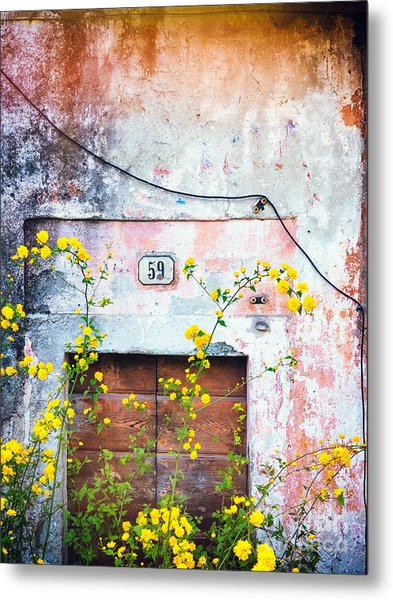 Yellow Flowers And Decayed Wall Metal Print