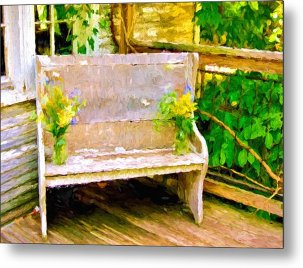 Yellow Flowers On Porch Bench Metal Print