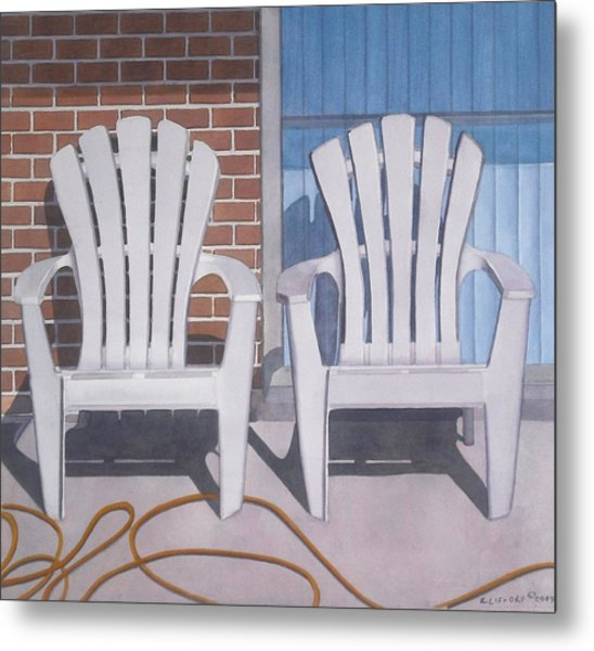 Yellow Garden Hose Metal Print by Cory Clifford