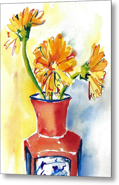 Yellow Gerbera Daisies In A Red And Blue Delft Vase Metal Print