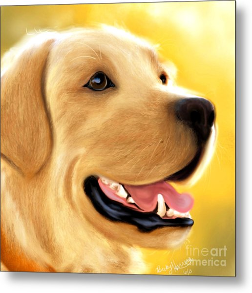 Yellow Lab Portrait Metal Print