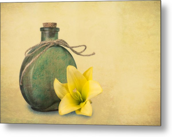 Yellow Lily And Green Bottle II Metal Print
