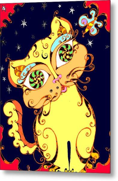 Yellow Loopy Cat Metal Print