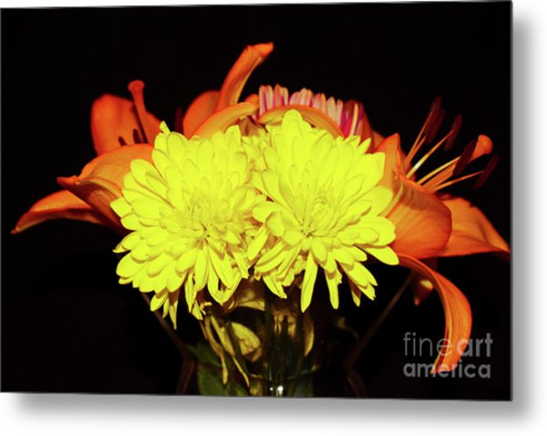 Yellow Mums And Orange Lilies  Metal Print