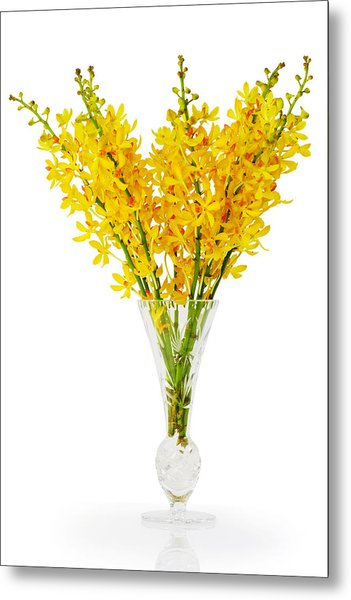 Yellow Orchid In Crystal Vase Metal Print