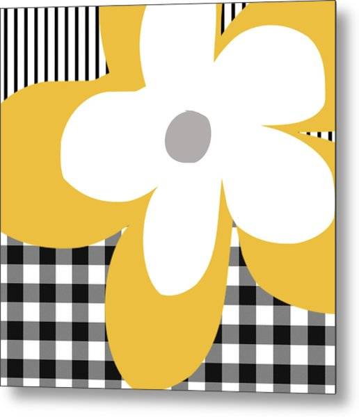 Yellow Picnic Flower- Art By Linda Woods Metal Print