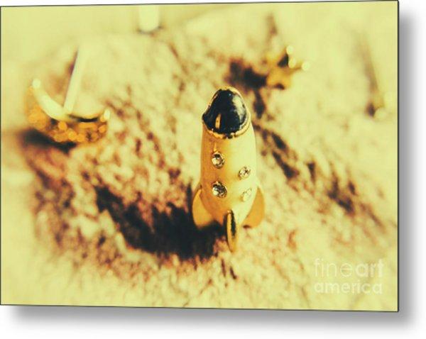 Yellow Rocket On Planetoid Exploration Metal Print