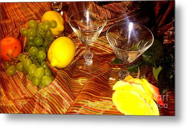 Yellow Rose, 2 Glasses, Grapes, Lemons Metal Print
