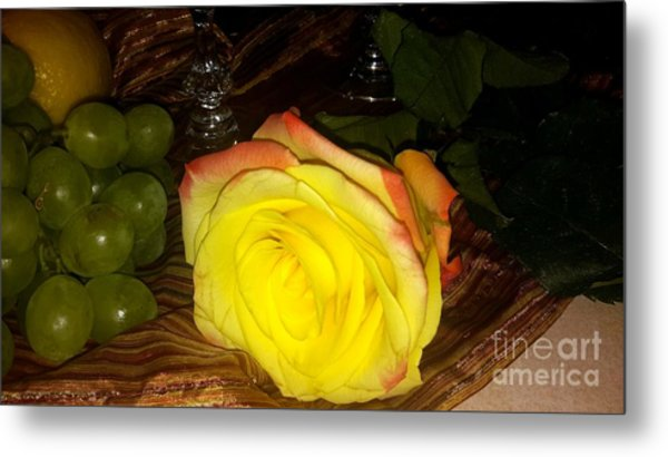 Yellow Rose And Grapes Metal Print