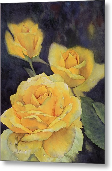 Yellow Rose Metal Print by Leah Wiedemer