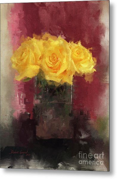 Metal Print featuring the digital art Yellow Roses by Dwayne Glapion
