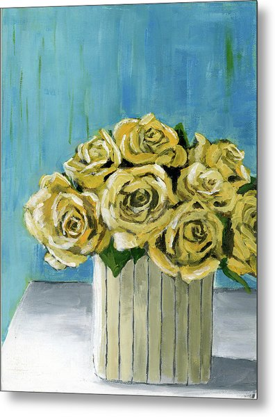 Yellow Roses In Vase Metal Print