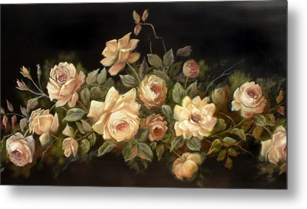 Yellow Roses On Black  Metal Print