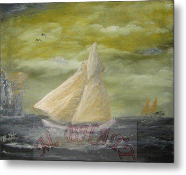 Yellow Sail Boat Metal Print by M Bhatt