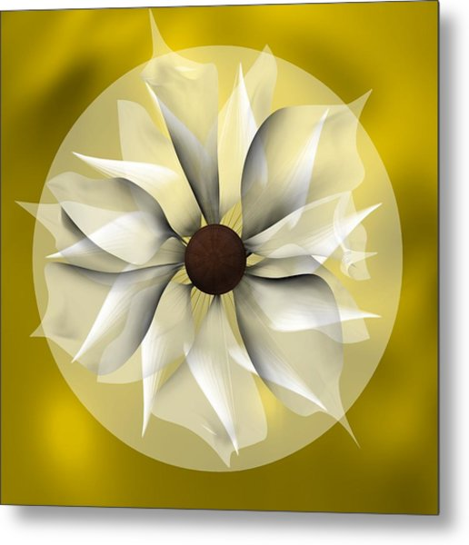 Metal Print featuring the digital art Yellow Soft Flower by Alberto RuiZ