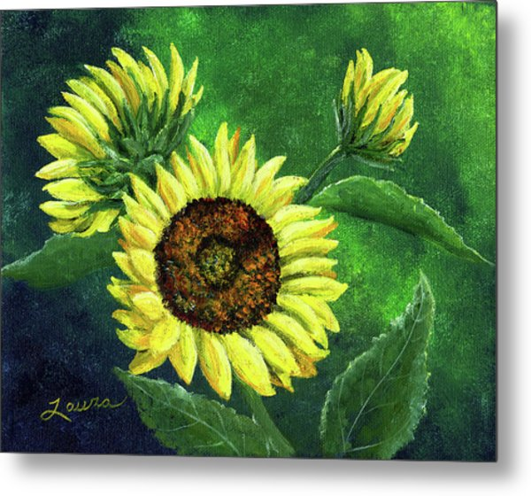 Yellow Sunflowers On Green Metal Print by Laura Iverson