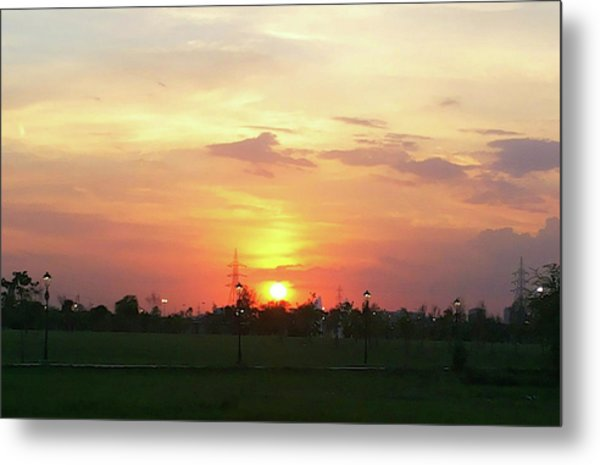 Yellow Sunset At Park Metal Print