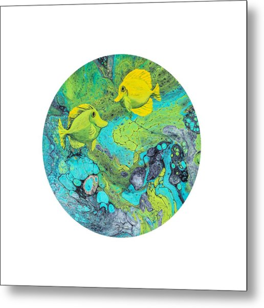 Metal Print featuring the painting Yellow Tang On White by Darice Machel McGuire