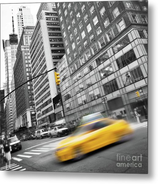 Yellow Taxi Nyc Metal Print
