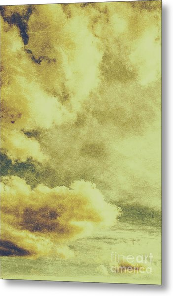 Yellow Toned Textured Grungy Cloudscape Metal Print