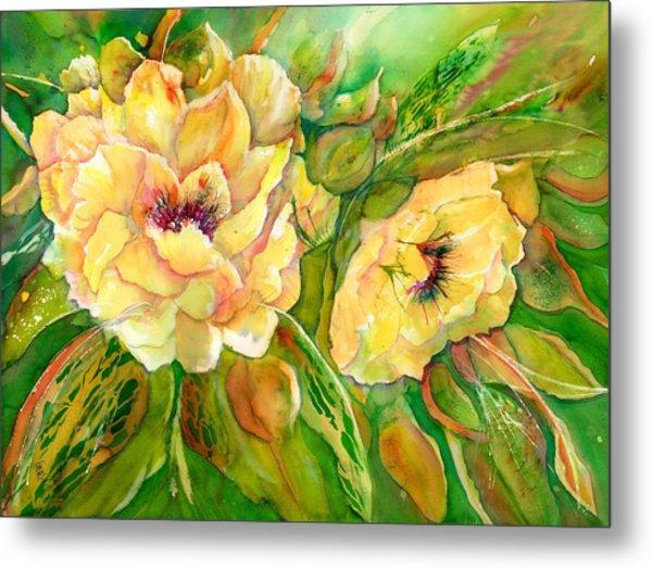 Yellow Peony Flowers Metal Print