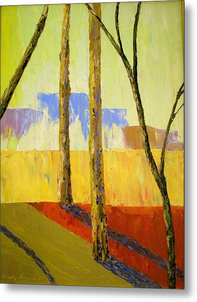 Yellow Trees Metal Print by Art Nomad Sandra  Hansen