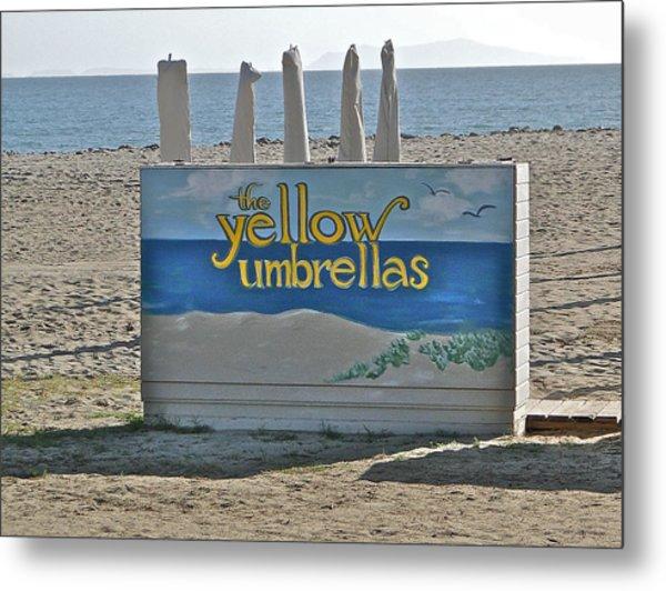 Yellow Umbrellas Metal Print by Liz Vernand