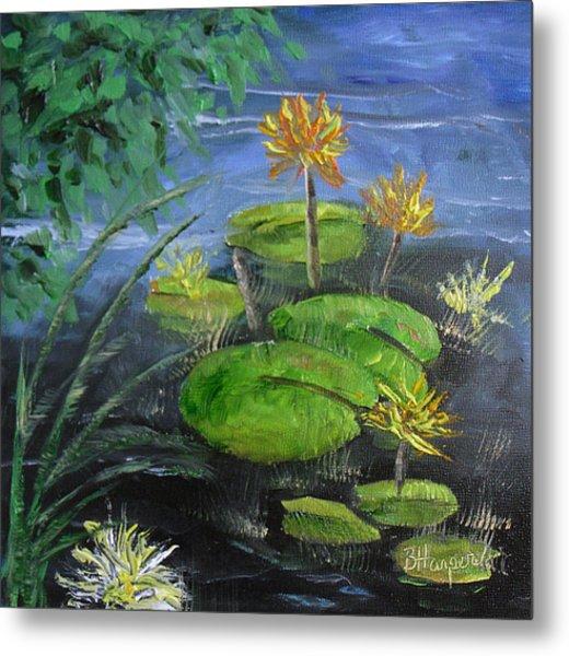 Yellow Water Lilies Metal Print by Barbara Harper
