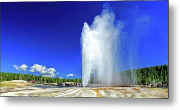 Metal Print featuring the painting Yellowstone National Park Beehive Geyser by Christopher Arndt