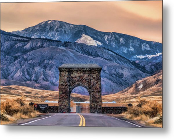 Metal Print featuring the painting Yellowstone National Park North Entrance by Christopher Arndt