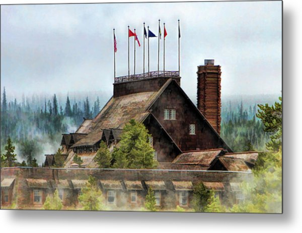 Metal Print featuring the painting Yellowstone National Park Old Faithful Inn by Christopher Arndt