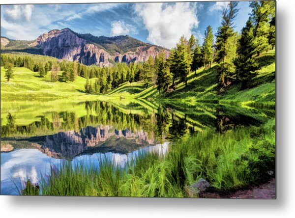 Metal Print featuring the painting Yellowstone National Park Trout Lake by Christopher Arndt