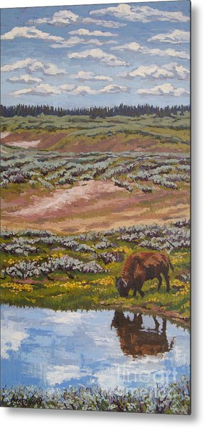 Metal Print featuring the painting Yellowstone Reflections by Erin Fickert-Rowland