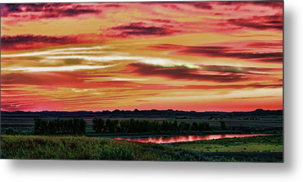 Yellowstone River Wildfire Sunset Metal Print