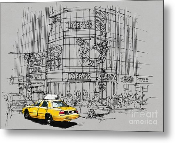 Yelow Cab On New York Streets Metal Print