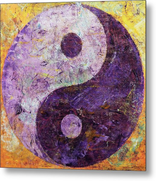 Purple Yin Yang Metal Print