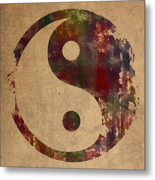 Yin Yang Symbol Distressed Grunge Watercolor Painting On Worn Canvas Metal Print
