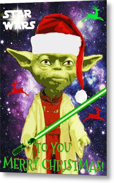 Yoda Wishes To You Merry Christmas Metal Print