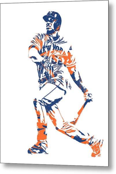 Yoenis Cespedes New York Mets Pixel Art 4 Metal Print
