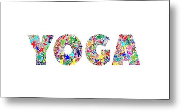 Yoga Word Art Metal Print