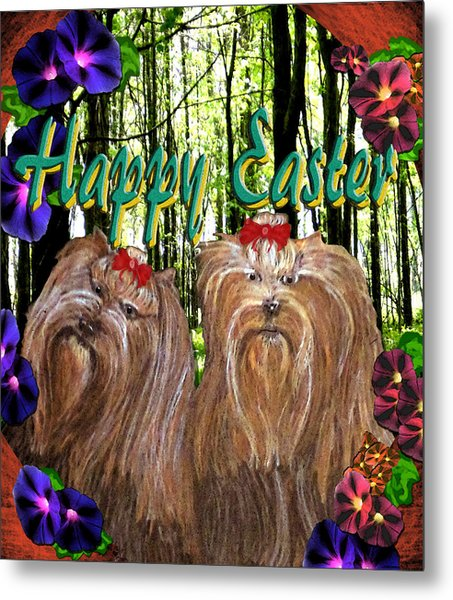 Metal Print featuring the digital art Yorkie Easter by Michelle Audas