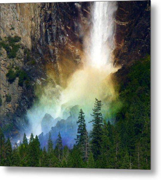 Yosemite Bridalveil Fall Rainbow Metal Print