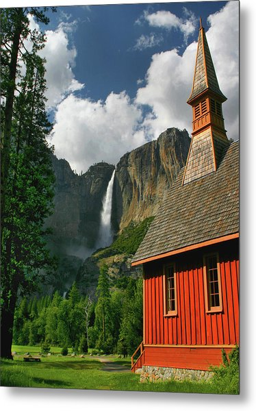 Yosemite Chapel Metal Print by Tom Kidd