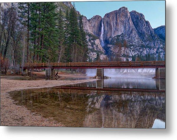 Yosemite Falls At The Swinging Bridge Metal Print