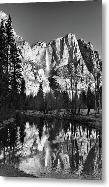 Yosemite Falls Reflections Metal Print by Stephen  Vecchiotti