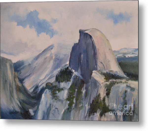Yosemite Half Dome From Glacier Point Metal Print by Karen Winters