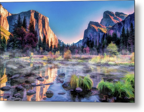 Metal Print featuring the painting Yosemite National Park Valley by Christopher Arndt