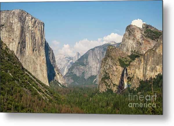 Yosemite Tunnel View With Bridalveil Rainbow By Michael Tidwell Metal Print