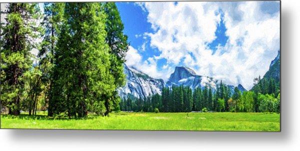 Yosemite Valley And Half Dome Digital Painting Metal Print