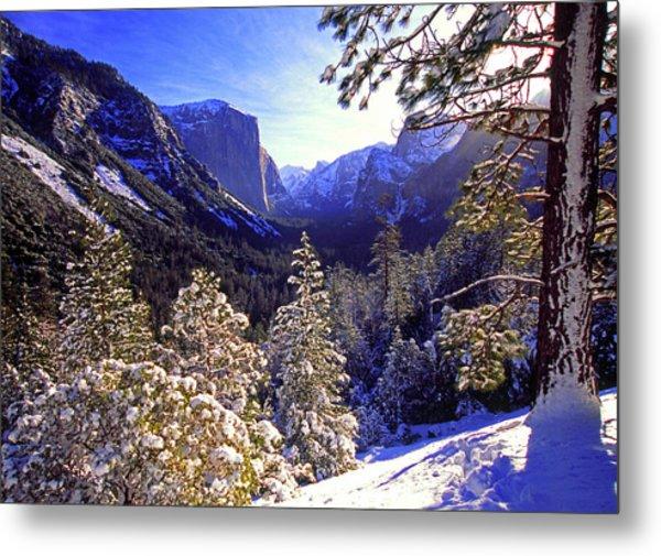 Yosemite Valley In Winter, California Metal Print